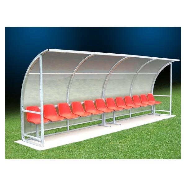 panchina campi calcio con tetto curvo, 2 posti