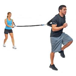 Variable Resistance Trainer, elastico da 305 cm. con imbragatura pettorale e maniglia grande