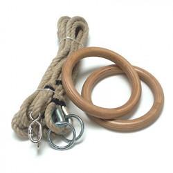 Coppia di anelli in legno con funi in canapa regolabili