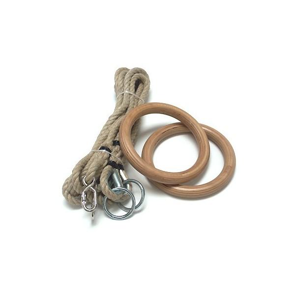 anelli per ginnastica in legno con funi in canapa