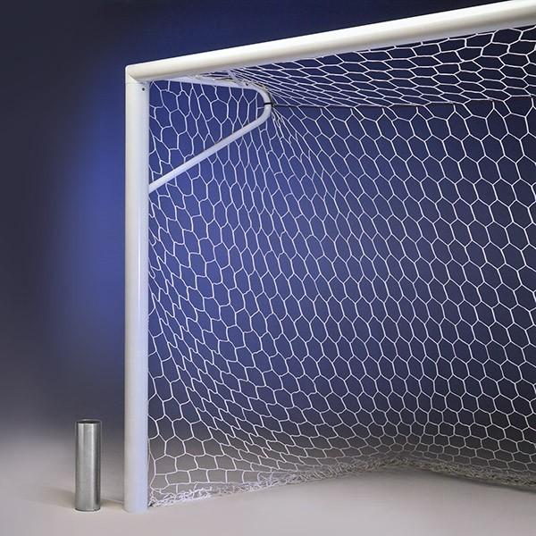 COPPIA porte calcio regolamentari in alluminio con reggirete a gomito
