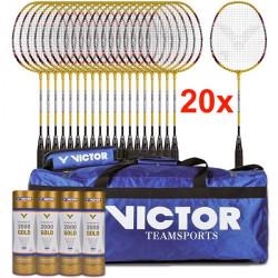 Set 20 racchette Victor AL2200 con 24 volani Gold 2000 e borsa