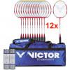 Set 12 racchette Victor Pro con 12 volani Silver 1000 e borsa