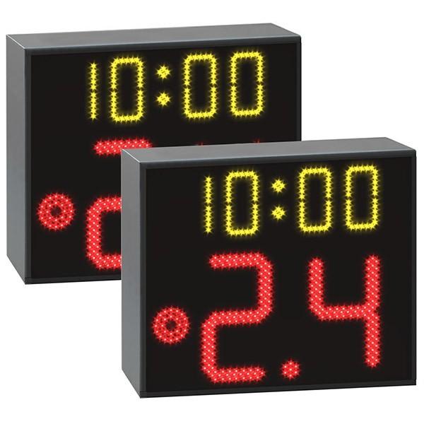 Coppia tabelloni 24 secondi FIBA con tempo di gioco