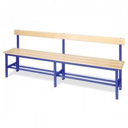 Panchina spogliatoio da mt 2 con schienale, colore blu