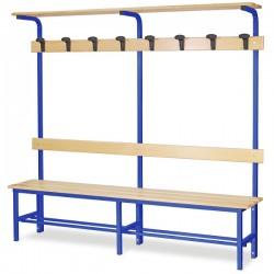 Panchina spogliatoio mt. 2 completa di poggiaborse / cappelliera colore blu