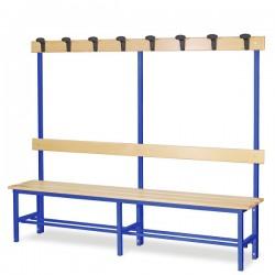 Panchina spogliatoio in alluminio da mt. 2 con appendiabiti colore blu