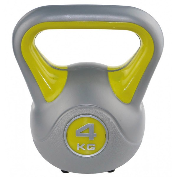 Kettlebell kg 4 per home fitness, colore giallo