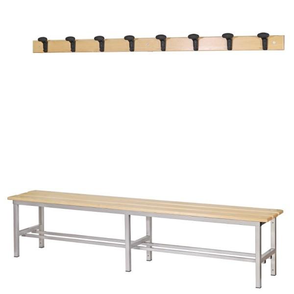 Panchina Spogliatoio in Alluminio 200 cm con appendiabiti a parete, colore grigio metallizzato