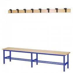 Panchina Spogliatoio in Alluminio 200 cm con appendiabiti a parete, colore blu