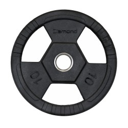 Disco gommato olimpico da 10 kg, foro 50 mm Tri-Grip