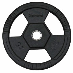 Disco gommato olimpico da 20 kg, foro 50 mm Tri-Grip