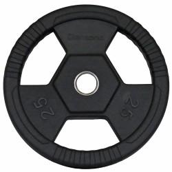 Disco gommato olimpico da 25 kg, foro 50 mm Tri-Grip
